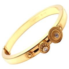 Carrera Y Carrera Diamond Spinning Circle Yellow Gold Bangle Bracelet