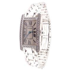 Cartier Ladies White Gold Diamond Tank Americaine Quartz Wristwatch Ref 113119LX