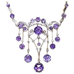 1930s Russian Amethyst Diamond Silver Necklace
