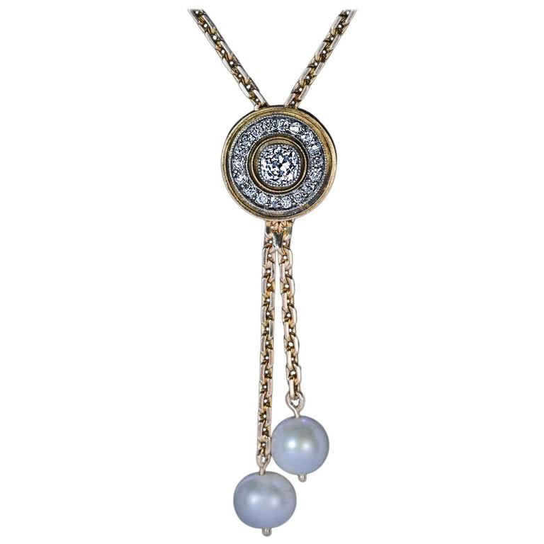 Antique Russian Diamond Pearl Gold Drop Necklace