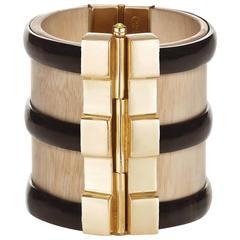Fouche Horn Peridot Sapphire Wood Gold Cuff Bracelet