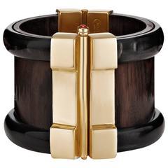 Fouche Horn Wood Ruby Cuff Bracelet