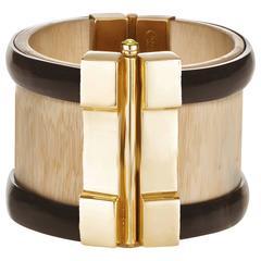 Fouche Horn Wood Peridot Cuff Bracelet