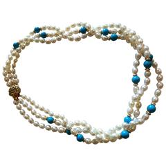 Pearl tourquoise 3 strand necklace