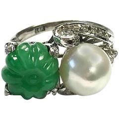 Vintage Carved Jade Pumpkin and Pearl Gold Ring