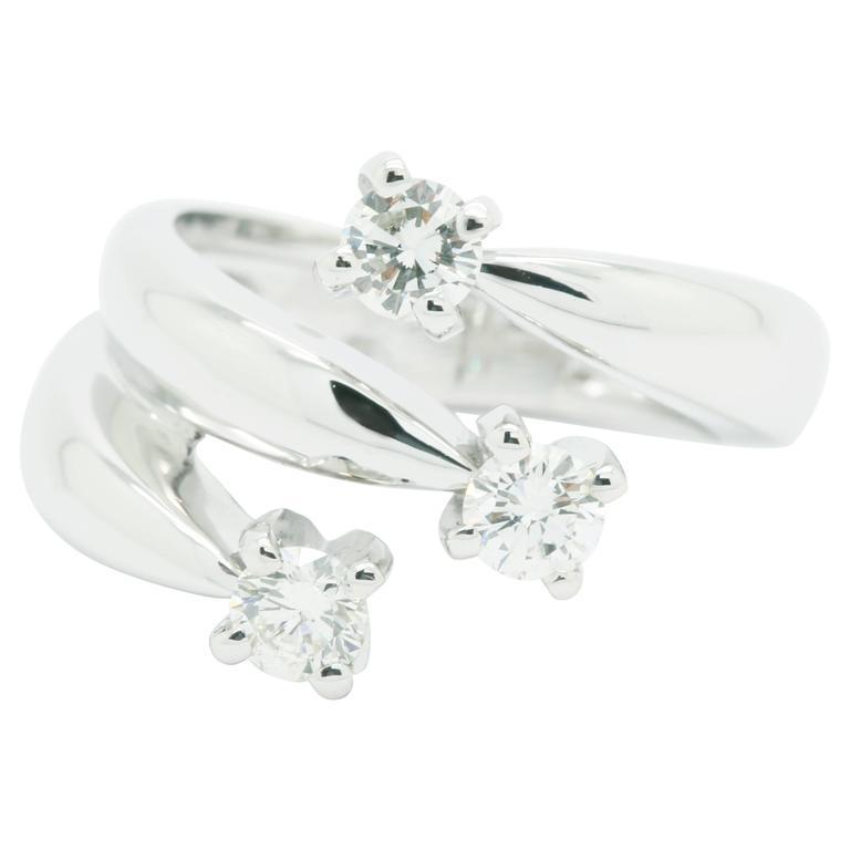 ae9bca729b82bf 0.66 Carat Three Diamond Ring in 18 Karat White Gold Made in Italy For Sale