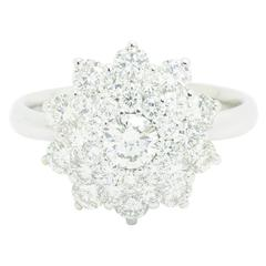 2.13 carat White Diamonds Flower Cluster 18k white gold Ring