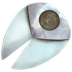 1950s Art Smith Sculpted Sterling Stone Brooch
