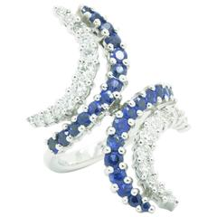 Ferrucci Diamonds and Blue Sapphires 18 Karat White Gold Ring Made in Italy