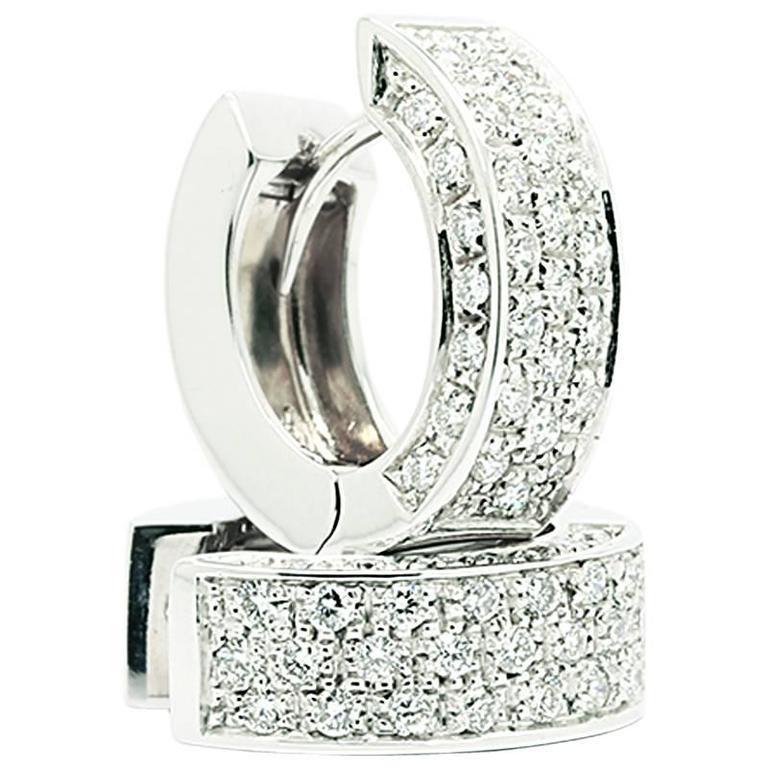 Ferrucci 1.00 carat  Diamond 18k white Gold huggie Earrings