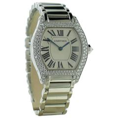 Ladies Cartier Tortue 18k White Gold Diamond Watch on a Bracelet