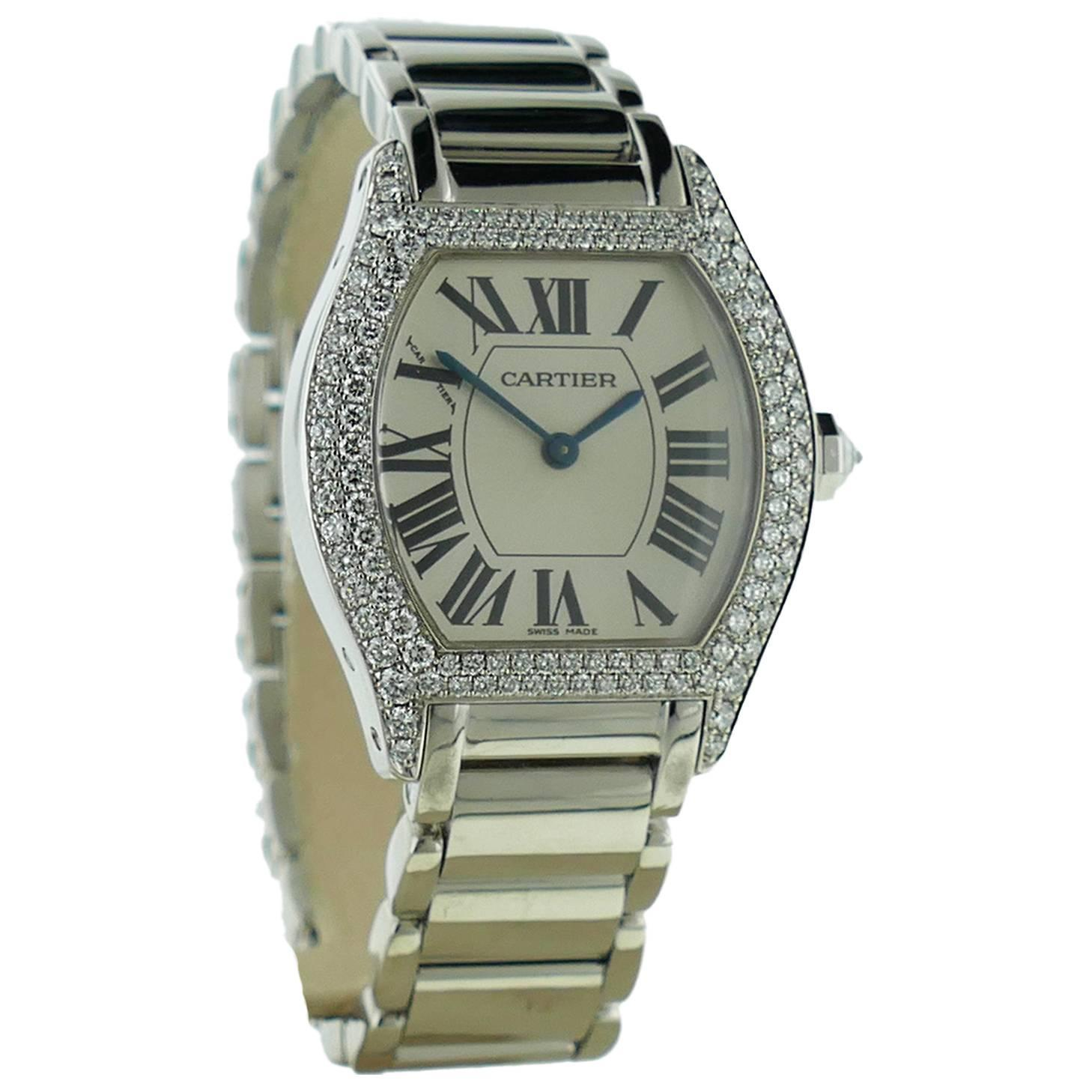 Ladies Cartier Tortue 18k White Gold Diamond Watch on a ...