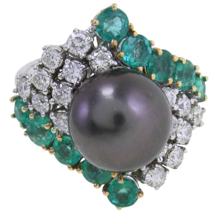 Black Pearl Emerald Diamond and White Gold Ring
