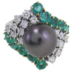 Black Pearl Emerald Diamond & White Gold Ring