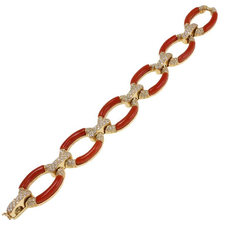 ct 3,60 Daimond Coral Yellow Gold Bracelet