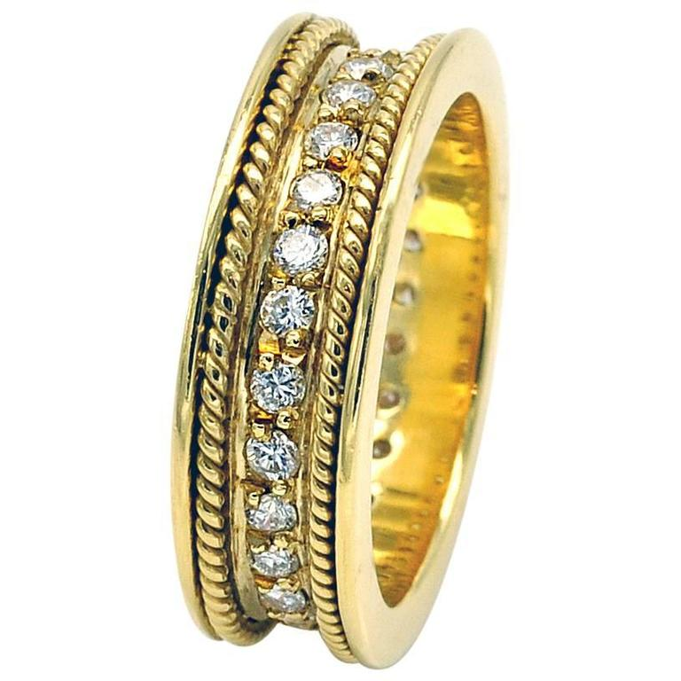 Diamond and Yellow Gold Wedding Ring