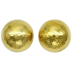 Hammered Yellow Gold Round Dome Earrings