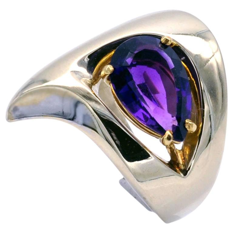 Pear Shaped Amethyst and Gold Modernist Ring