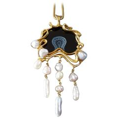 Fernand Demaret Belgium Unique Modernist Onyx Pearl Gold Pendant On Long Chain