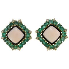 Diamond Emerald Coral Onyx Gold Earrings