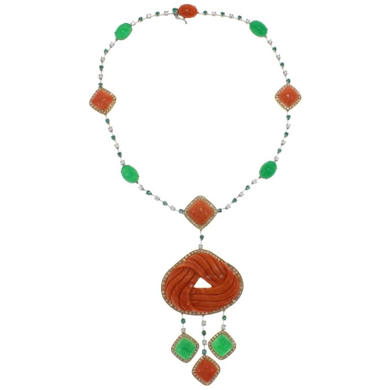 Diamond Emerald Coral Gold Necklace