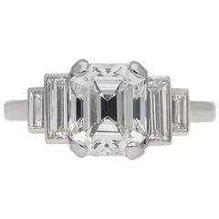 Art Deco emerald-cut diamond engagement ring, English, circa 1930.