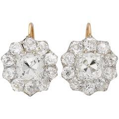 Edwardian diamond cluster earrings, circa 1910.
