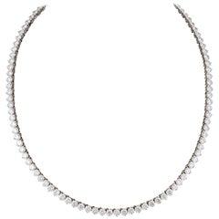 Fine Three Prong Diamond Tennis Necklace