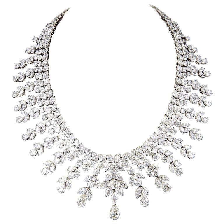 Diamond Scene Important 150 Carats Diamonds Platinum Drop Necklace