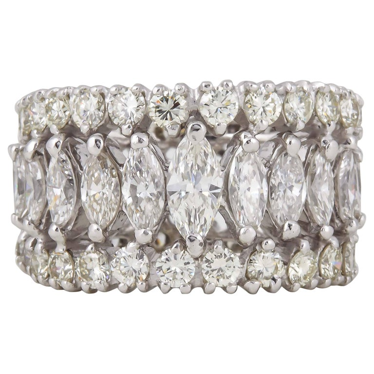 Marquise and Round Diamond Wide Graduated Eternity Band For Sale