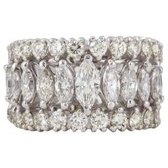 Marquise and Round Diamond Wide Graduated Eternity Band