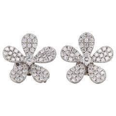 Diamond Scene 1.07 Carats Diamonds Gold Flower Earrings