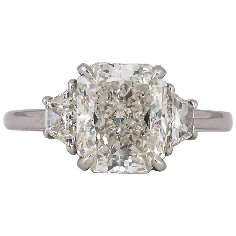 3 Carat GIA Radiant Cut Diamond Engagement Platinum Ring For Sale