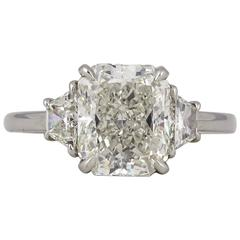 3 Carat GIA Radiant Cut Diamond Engagement Platinum Ring