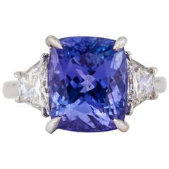 Cushion cut Tanzanite and Diamond Ring