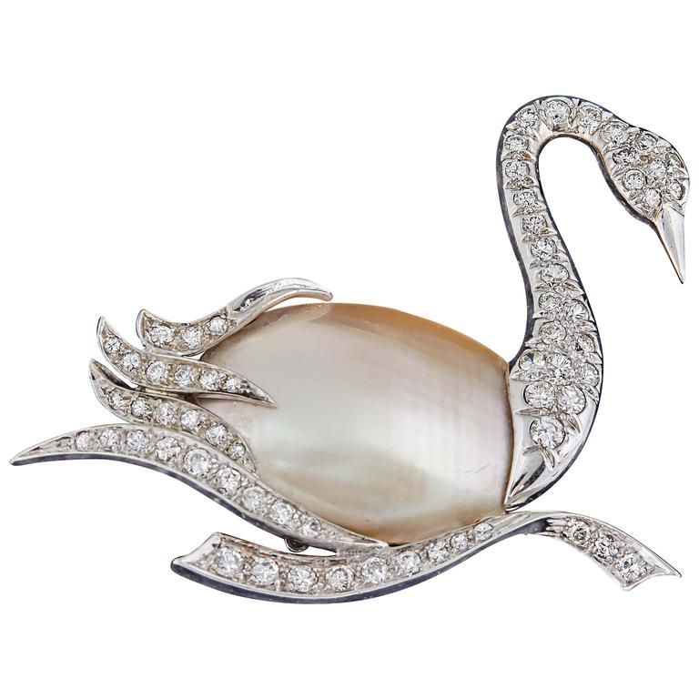 1940's Fantasy,Platinum & Diamond Figural Swan Brooch With Pearl Body 1