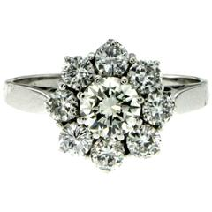 Diamond Gold Flower Cluster Ring
