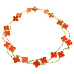 Van Cleef Arpels Coral Alhambra Gold Necklace