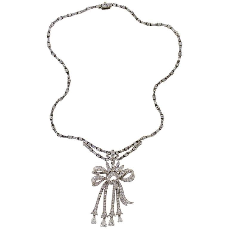 1950's Diamond & Platinum Riviere Necklace