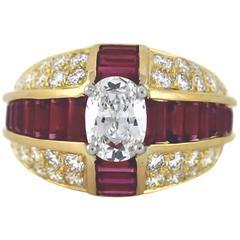 Oscar Heyman Diamond and Ruby Ring Yellow Gold