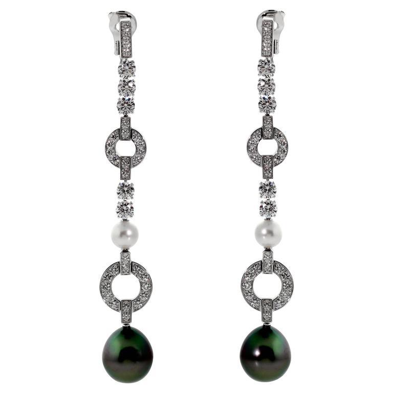 cartier himalia pearl diamond white gold earrings at 1stdibs