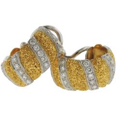Buccellati Gold Diamond Hoop Earrings