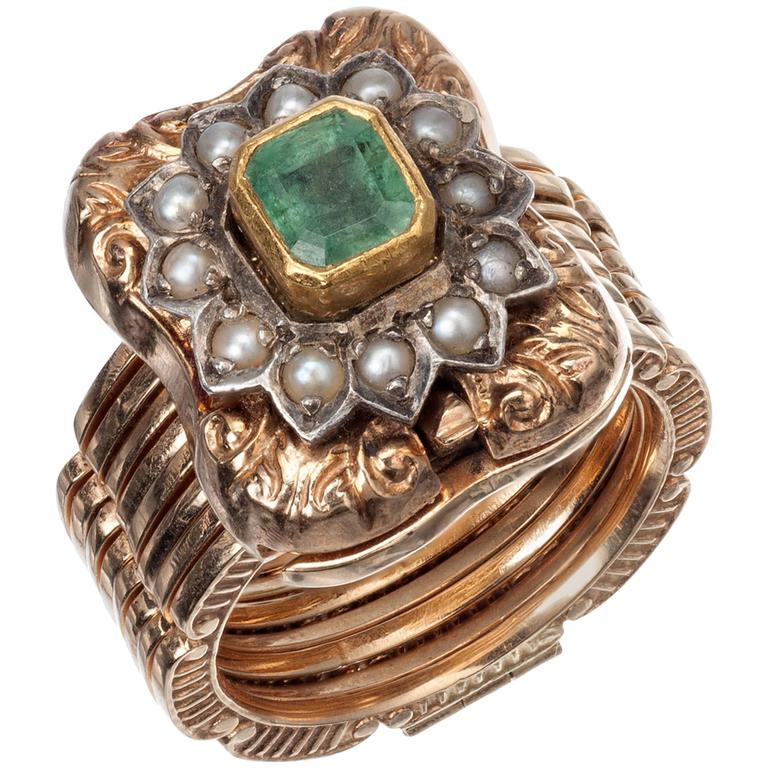 emerald and pearl convertible ring and bracelet at 1stdibs