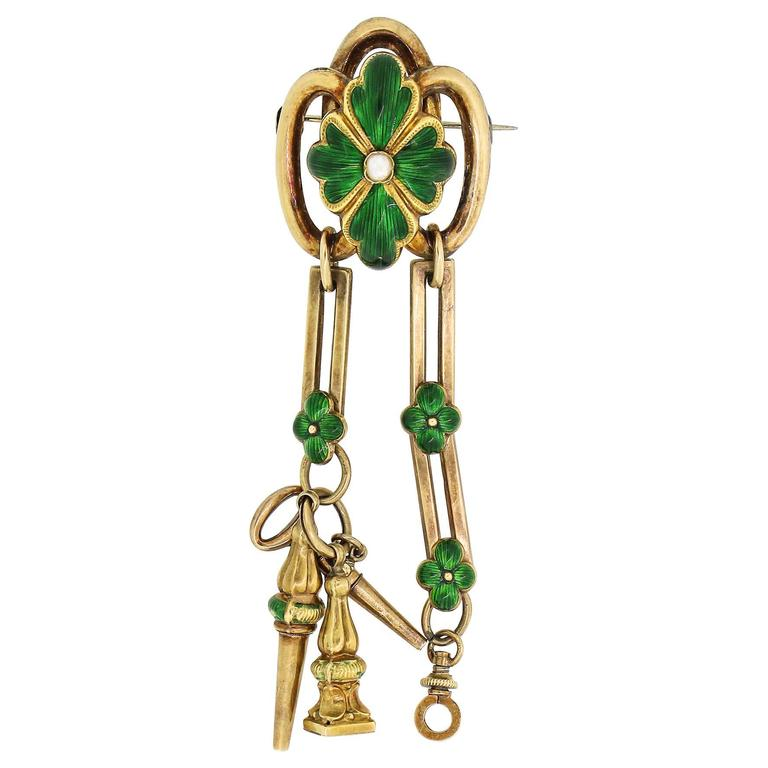 Antique French Gold and Green Enamel Watch Fob Brooch