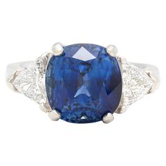 AGL Madagascar 6.60 Carat Blue Sapphire Diamond Platinum Ring