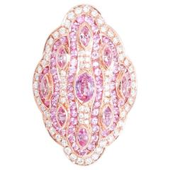 Beautiful Pink Sapphire and Diamond Ring in Rose Gold Sz.6-1/2