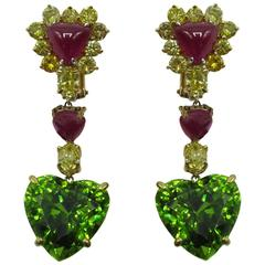 Fancy Yellow Diamond, Peridot, Ruby Earrings
