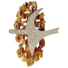 "1963 Georges Braque Ruby Gold ""Phosphorus"" Brooch"