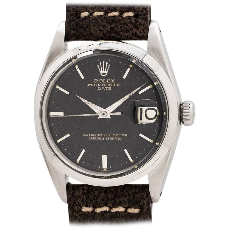 21ced030075 Rolex Oyster Perpetual Date ref 1500 Black Gilt Dial circa 1964 For Sale
