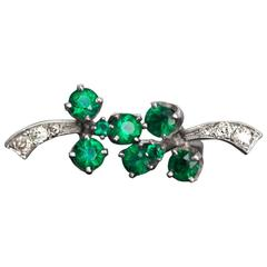 """1910s Art Deco Antique Diamond 14 Karat White Gold """"Clover"""" Earrings"""